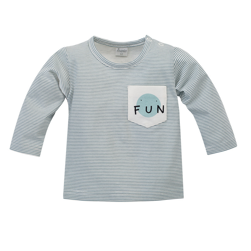 Bluză din bumbac cu mâneci lungi pentru bebeluși în dungi albe și albastre  242744