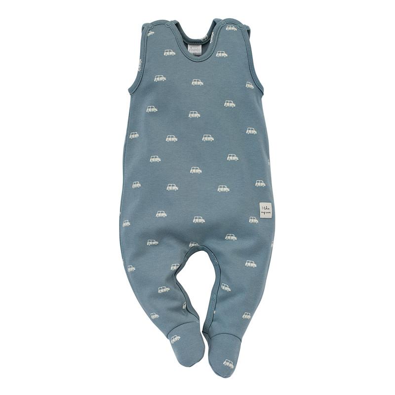 Salopetă de bumbac pentru bebeluș, culoarea albastră  242745
