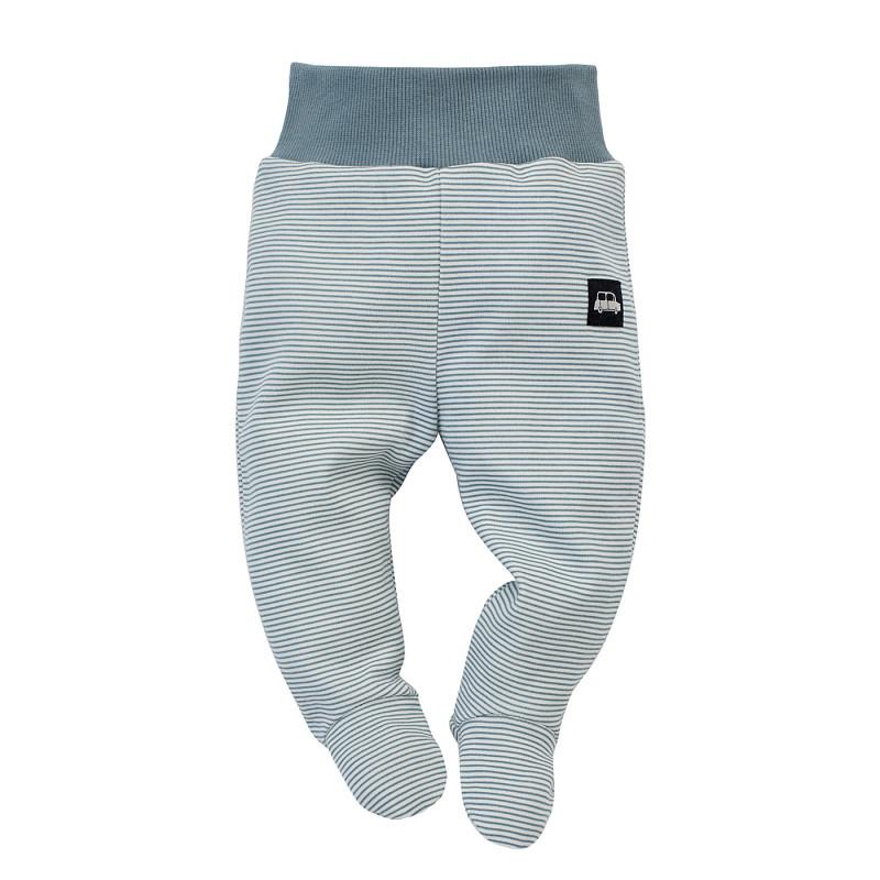 Pantaloni cu botoși din bumbac, în dungi albe și albastre, pentru bebeluș  242747