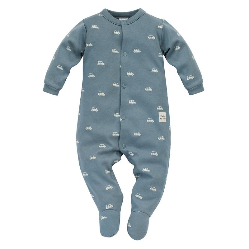 Salopetă din bumbac cu imprimeu grafic pentru bebeluș, albastru  242793