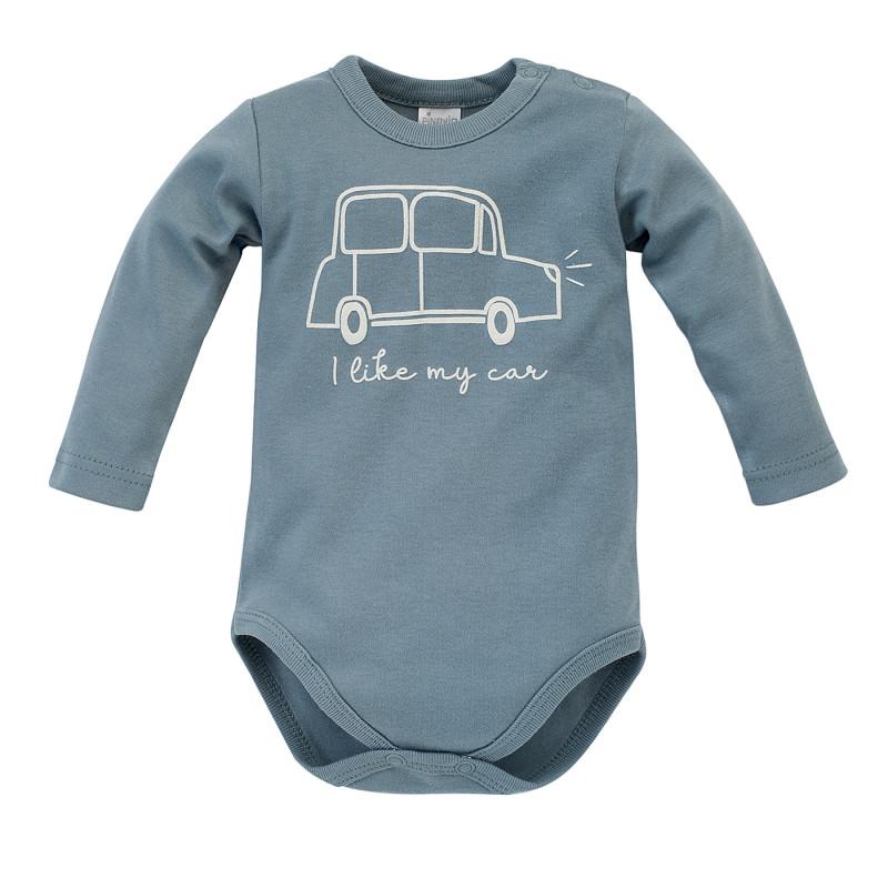Body din bumbac cu mâneci lungi pentru bebeluși, albastru  242800