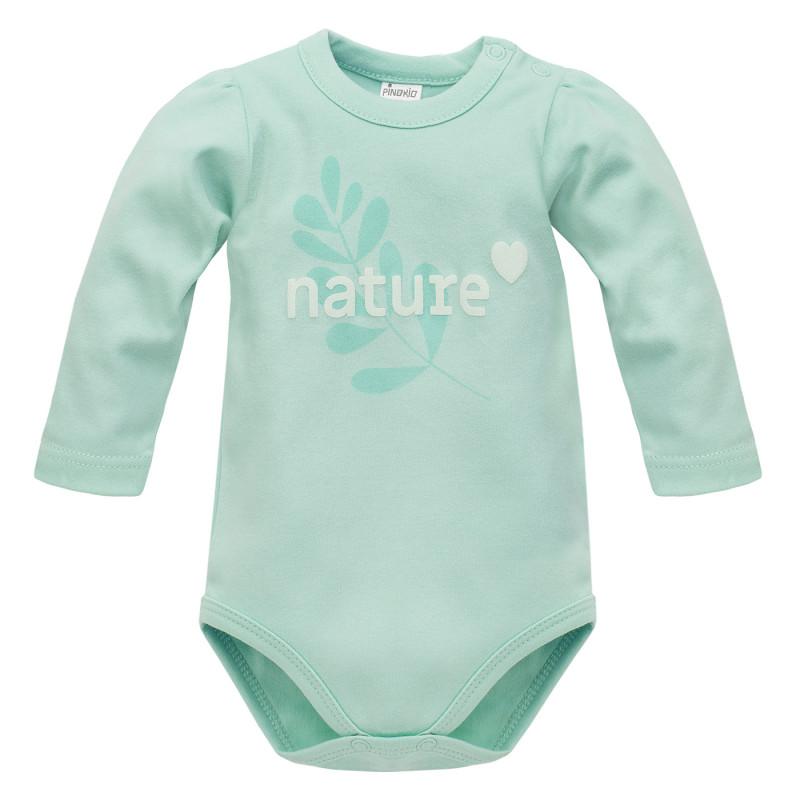 Body din bumbac cu mâneci lungi pentru bebeluș, culoarea mentă  242801