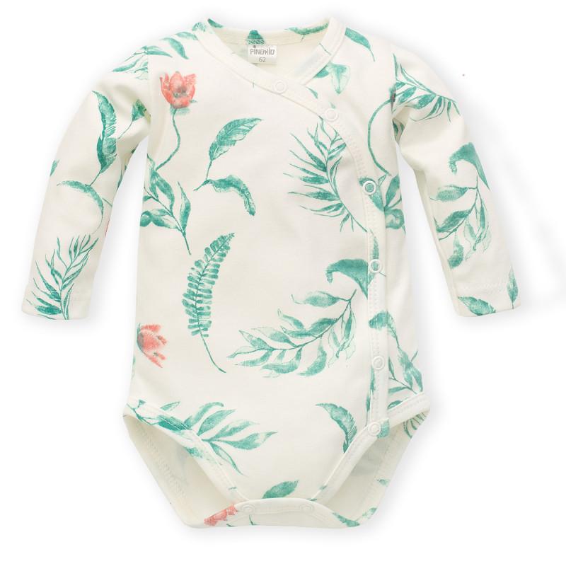 Body din bumbac cu imprimeu floral pentru bebeluș, alb  242802