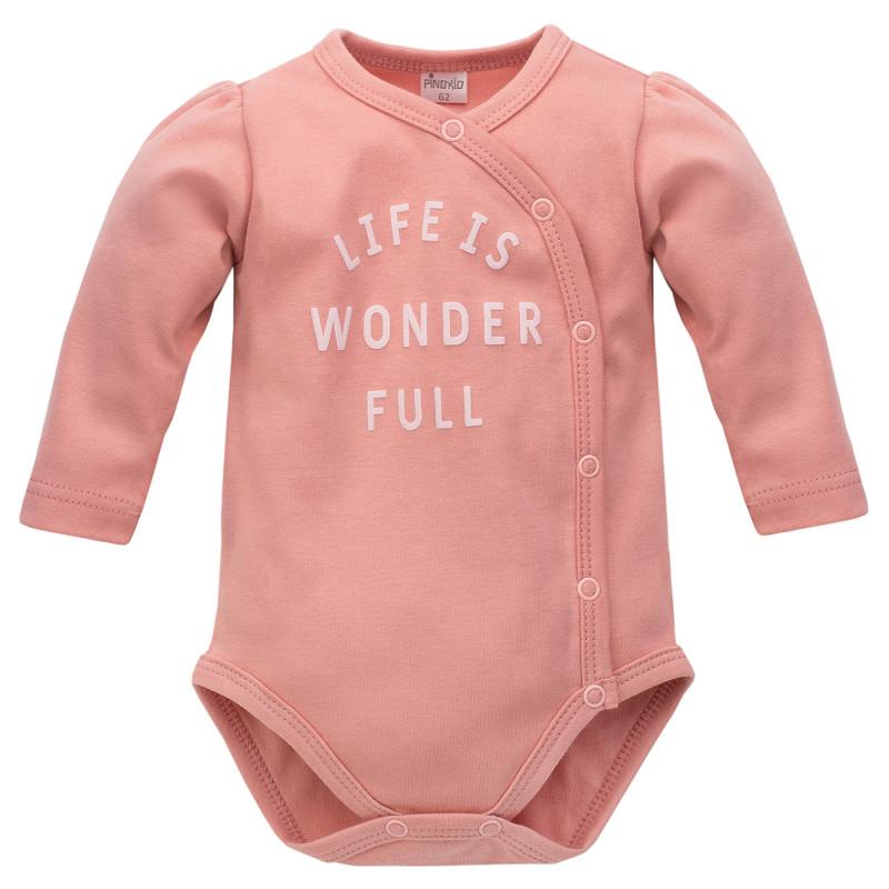 Body din bumbac cu mâneci lungi pentru bebeluș, roz  242803