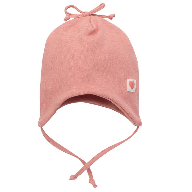 Căciulă de bumbac cu panglică pentru bebeluș, roz  242805