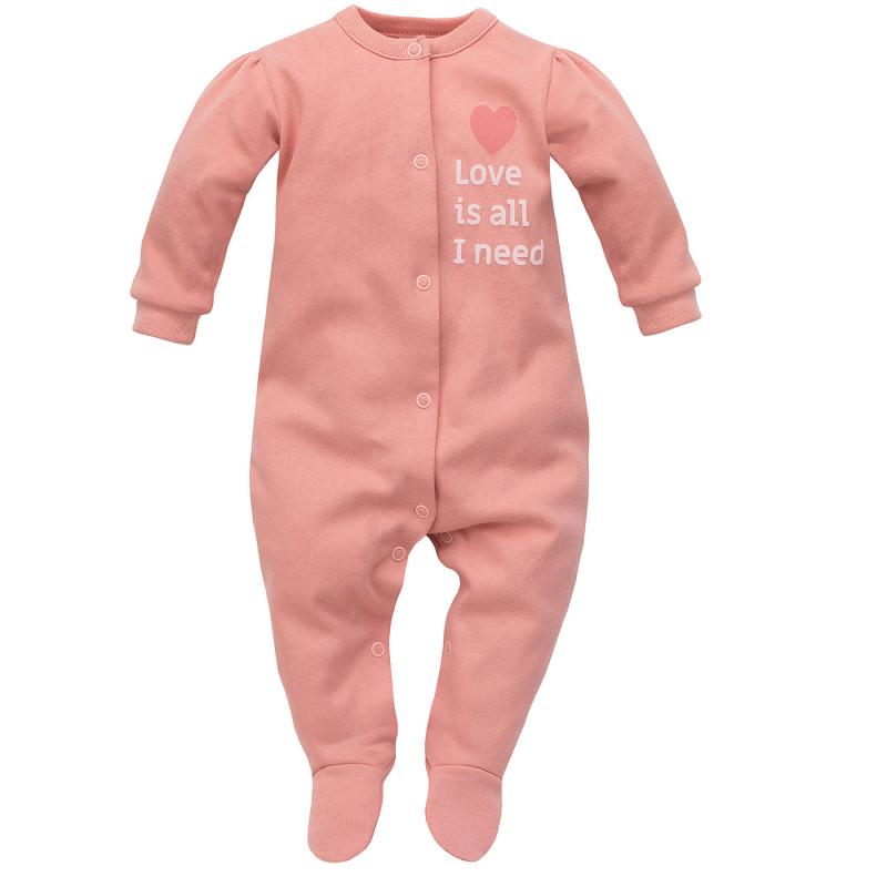 Salopetă de bumbac pentru bebeluș, roz  242808