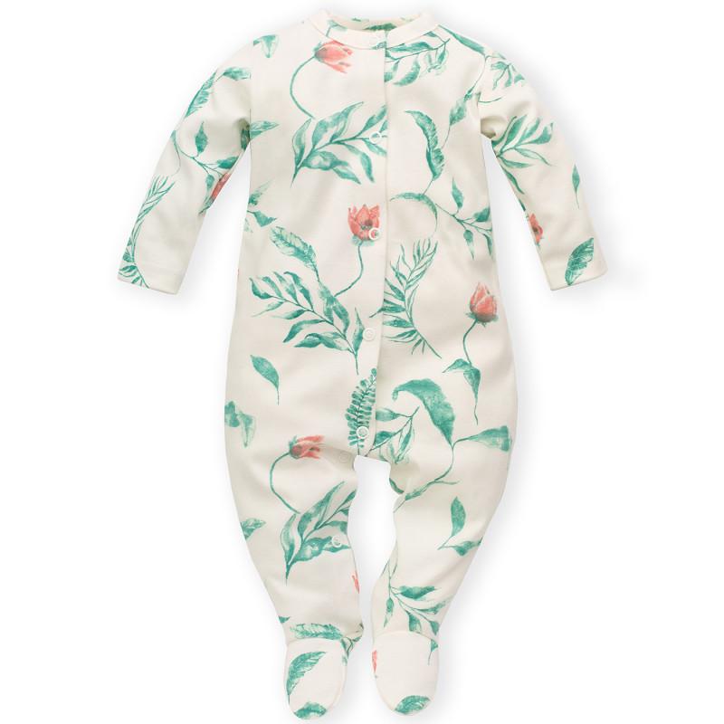 Salopetă din bumbac cu imprimeu floral pentru bebeluș, albă  242809