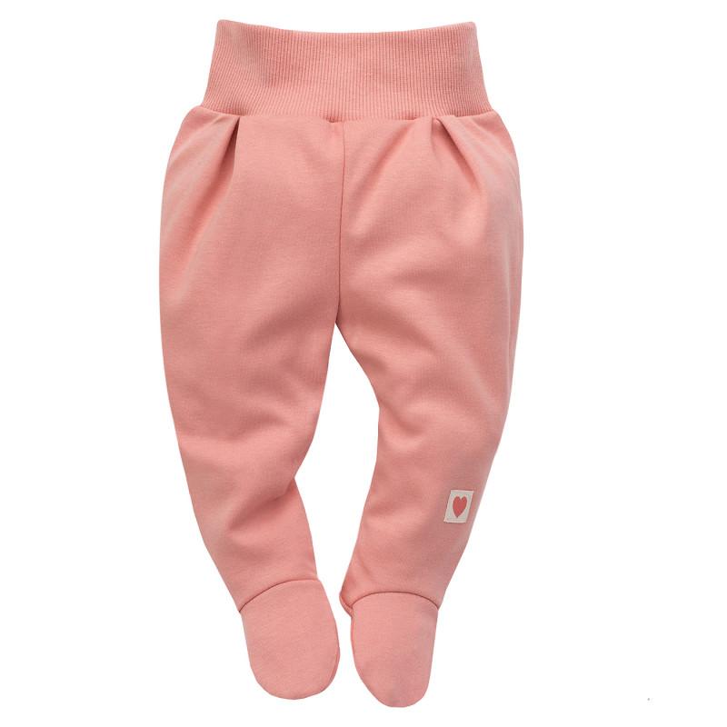 Pantaloni cu botoși din bumbac pentru bebeluș, culoarea roz  242811