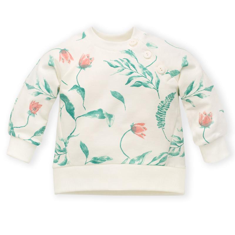 Hanorac din bumbac cu imprimeu floral pentru bebeluș, alb  242812