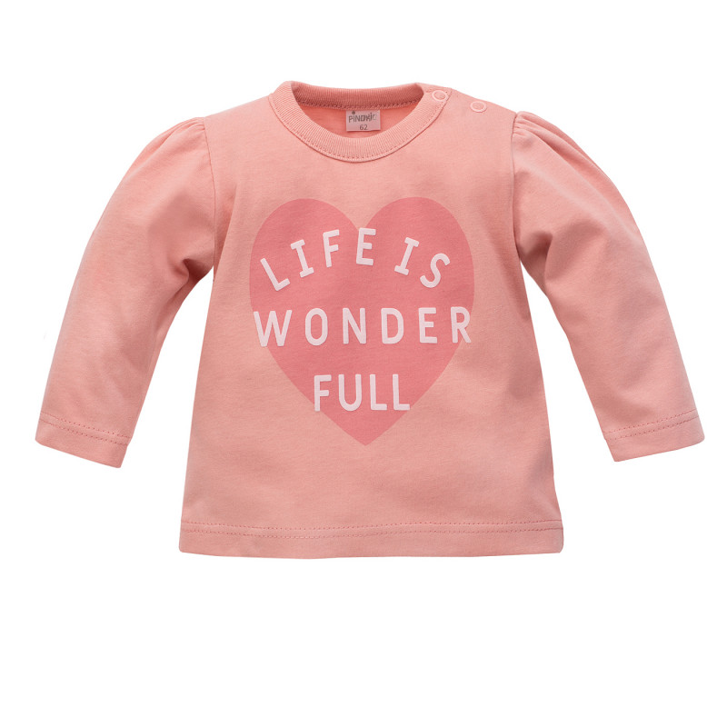 Bluză din bumbac cu mâneci pufoase pentru bebeluș, roz  242814