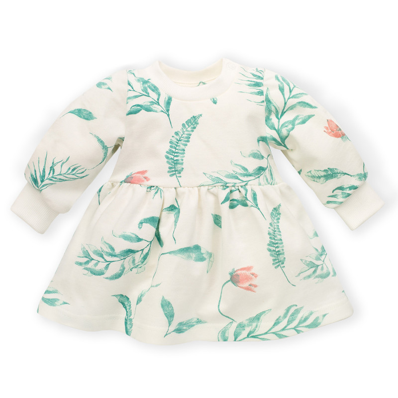 Rochie din bumbac cu imprimeu floral pentru bebeluș, albă  242816