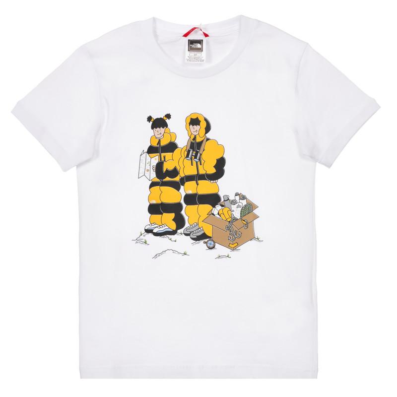 Tricou din bumbac cu imprimeu alpinist, alb  243597