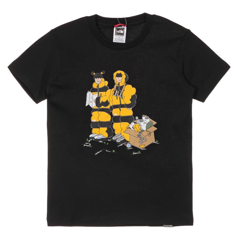 Tricou din bumbac cu imprimeu alpinist, negru  243601