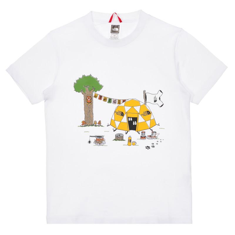 Tricou din bumbac cu imprimeu de cort în pădure, alb  243605