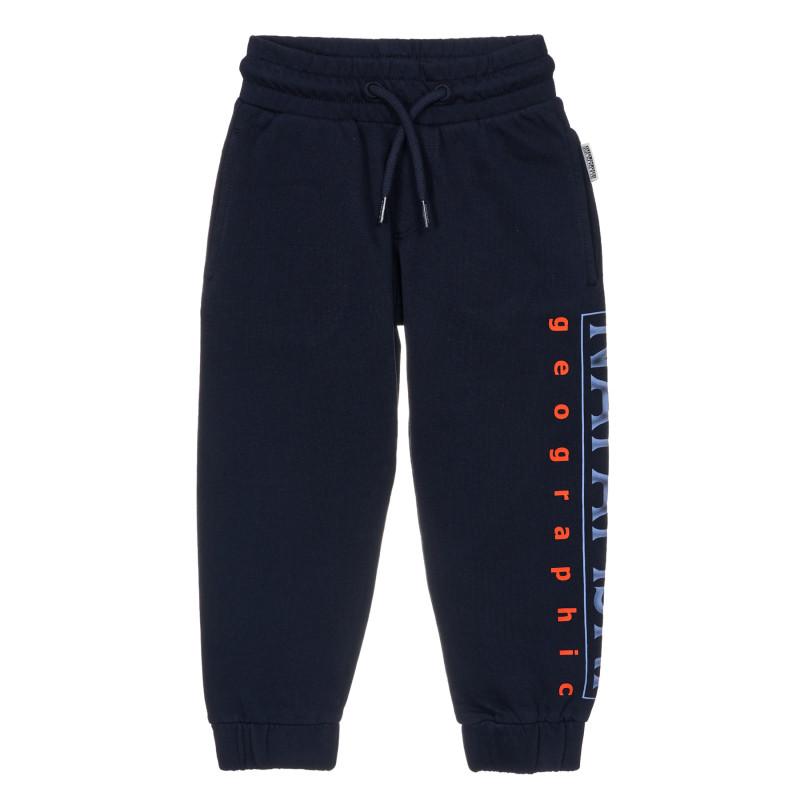 Pantaloni sport cu numele de marcă, albastru  243660
