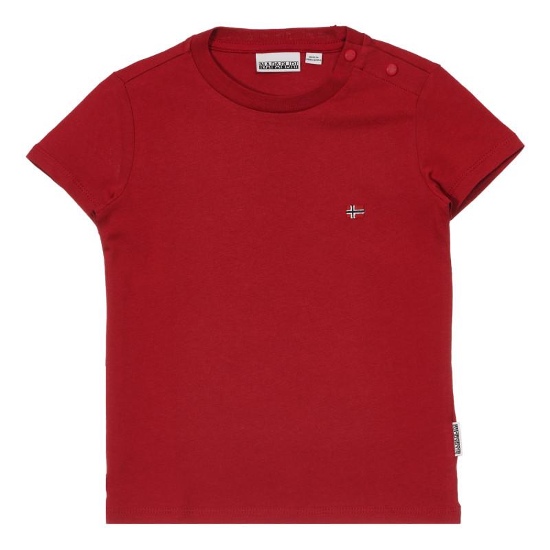 Tricou din bumbac cu aplicație mică, roșu  243680