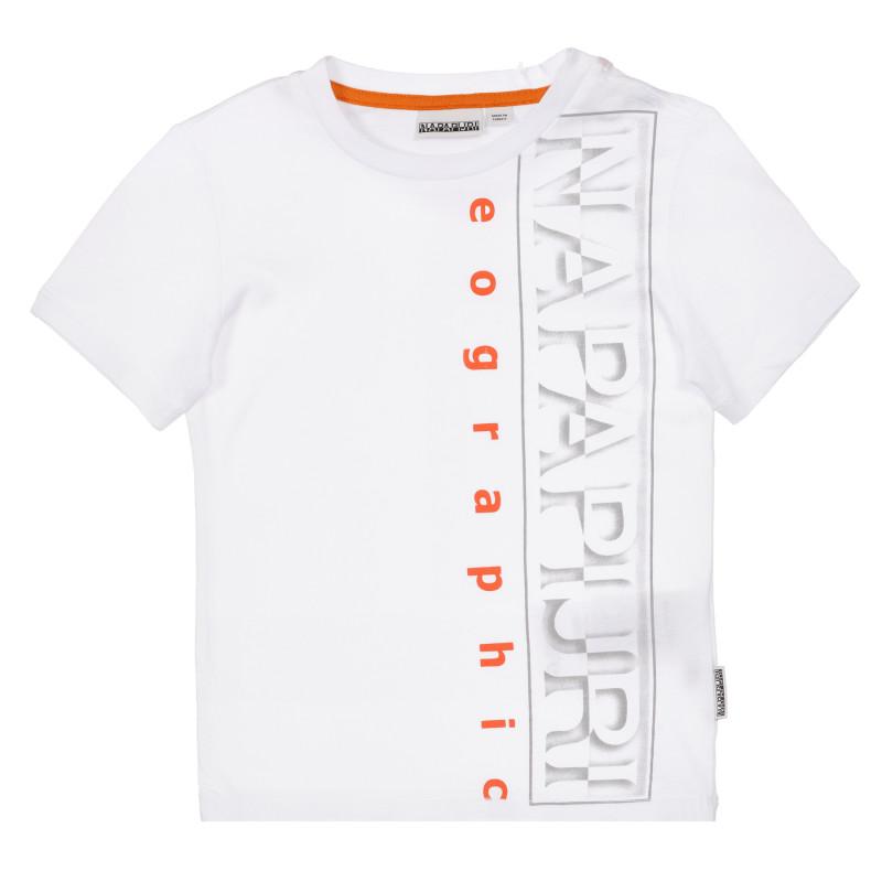 Tricou din bumbac cu inscripția mărcii, alb  243688