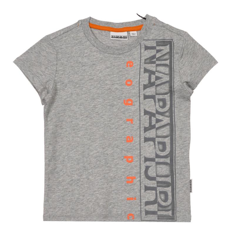 Tricou din bumbac cu numele mărcii, gri  243692