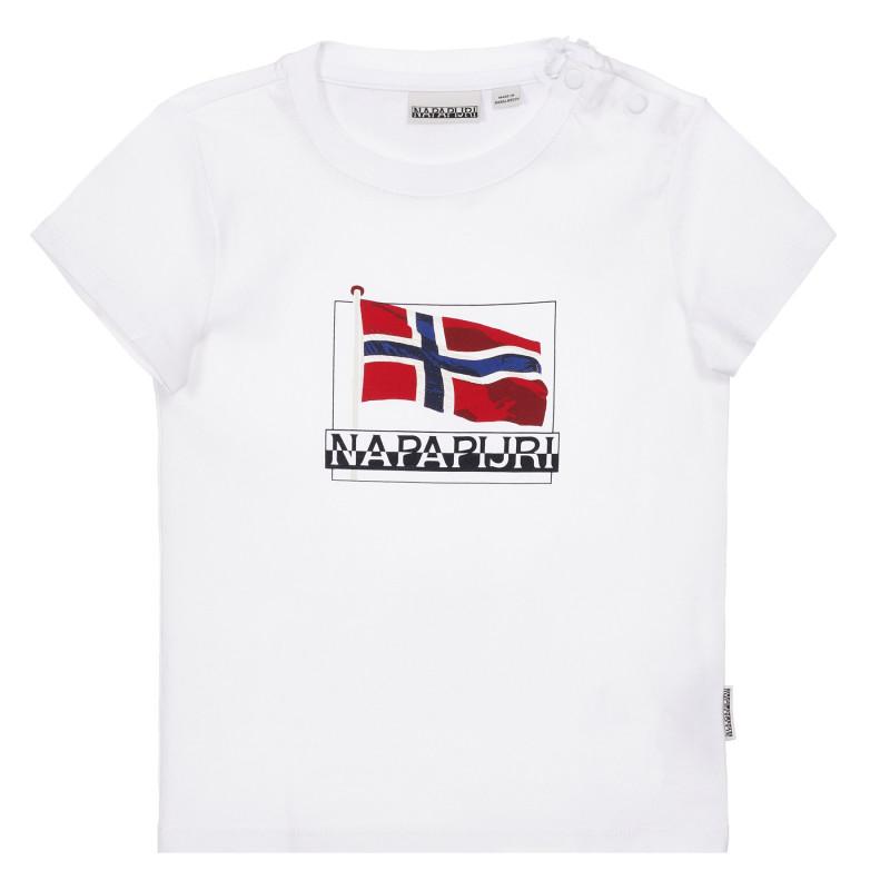 Tricou alb din bumbac cu sigla mărcii  243696