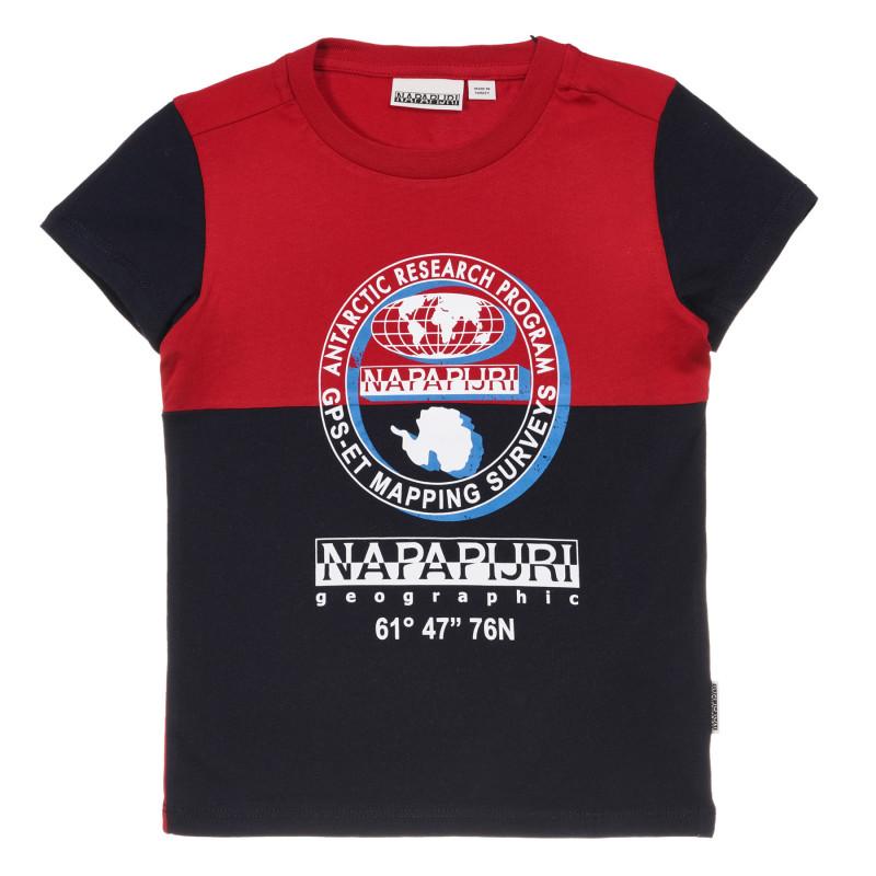 Tricou din bumbac cu accente roșii, albastru  243711