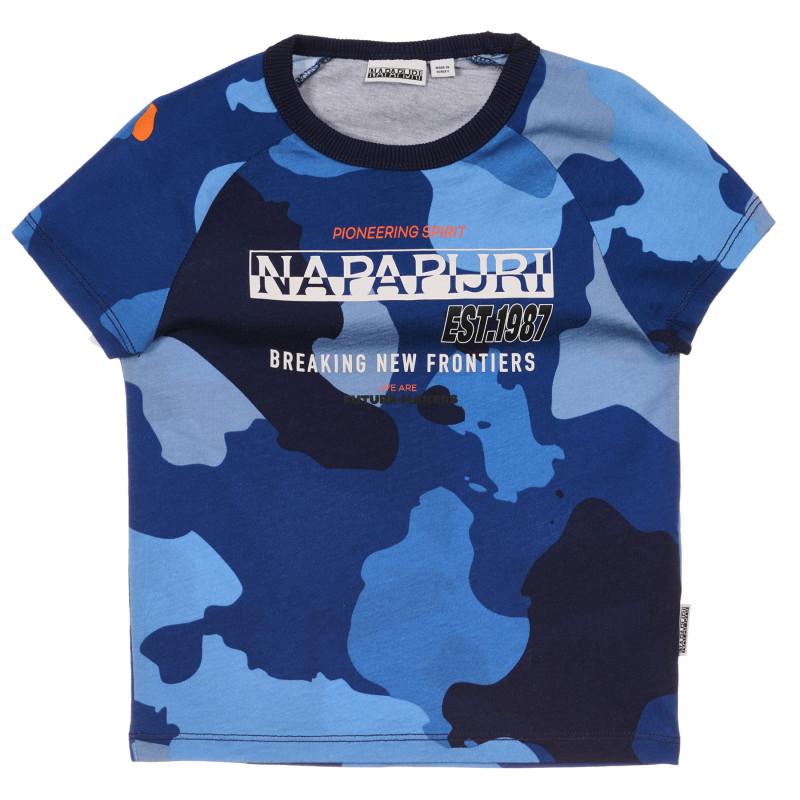Tricou din bumbac cu imprimeu camuflaj, albastru  243715