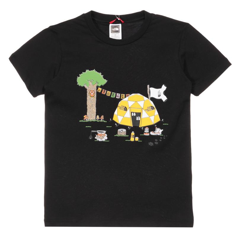 Tricou de bumbac cu imprimeu de cort în pădure, negru  244180
