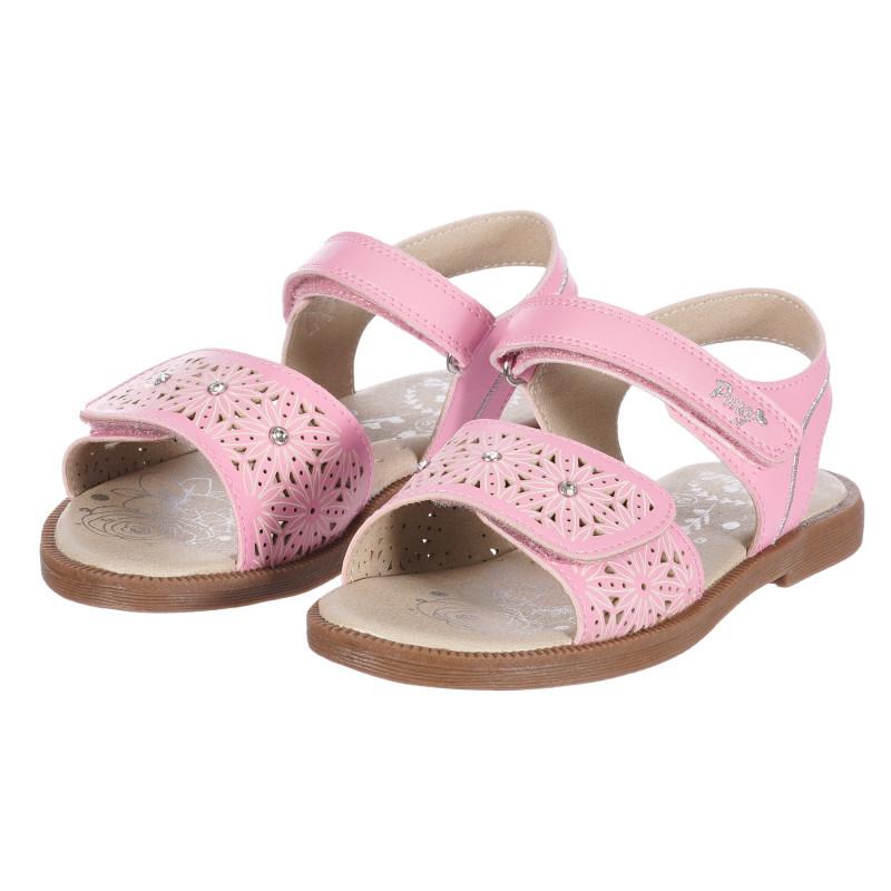 Sandale din piele artificială cu imprimeu floral, roz  250434