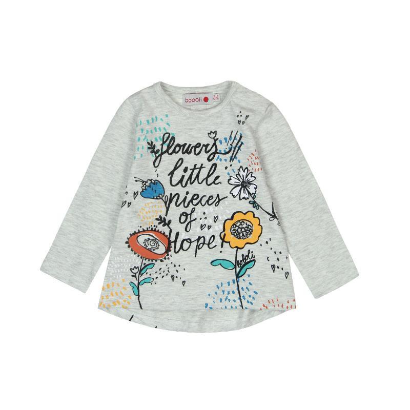 Bluză de bumbac pentru fete cu mâneci lungi și croi larg  255
