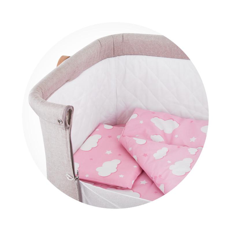 Set de pat pentru pătuț Norișor, roz  257194