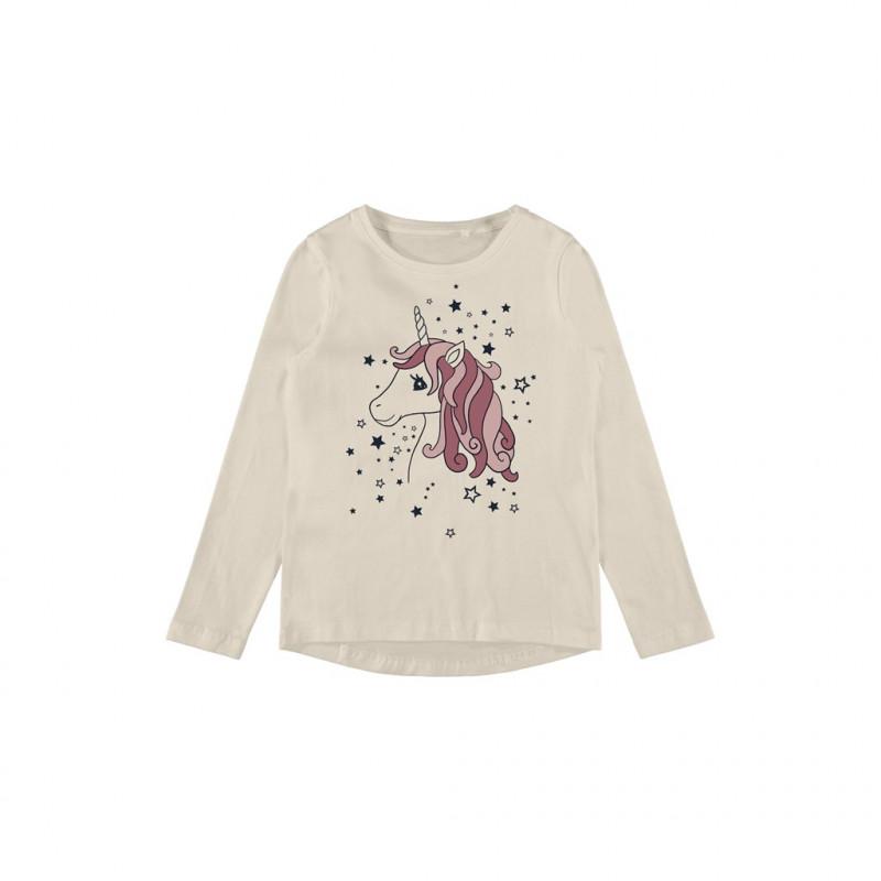 Bluză din bumbac organic cu imprimeu unicorn, bej  262166