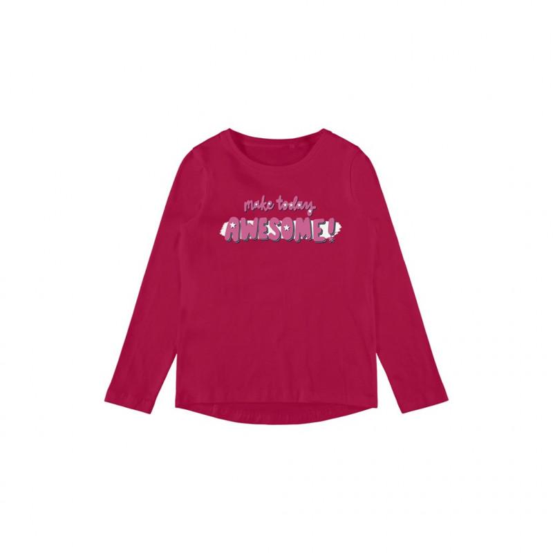 Bluză din bumbac organic cu imprimeu Awesome, roz închis  262167