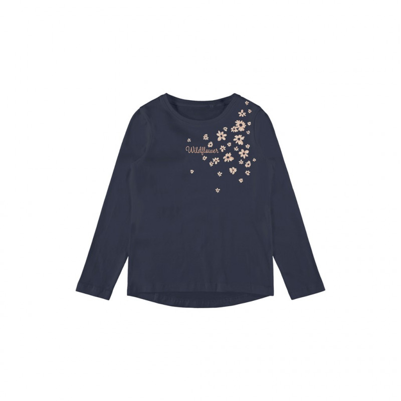 Bluză din bumbac organic cu imprimeu floral, albastru închis  262168