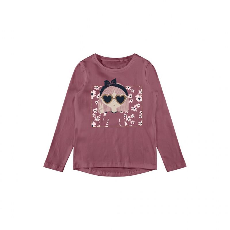 Bluză din bumbac organic cu imprimeu de fete cu ochelari, roz  262169