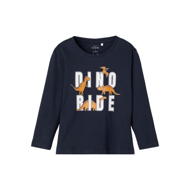 Bluză din bumbac organic cu imprimeu dinozaur, bleumarin  262173