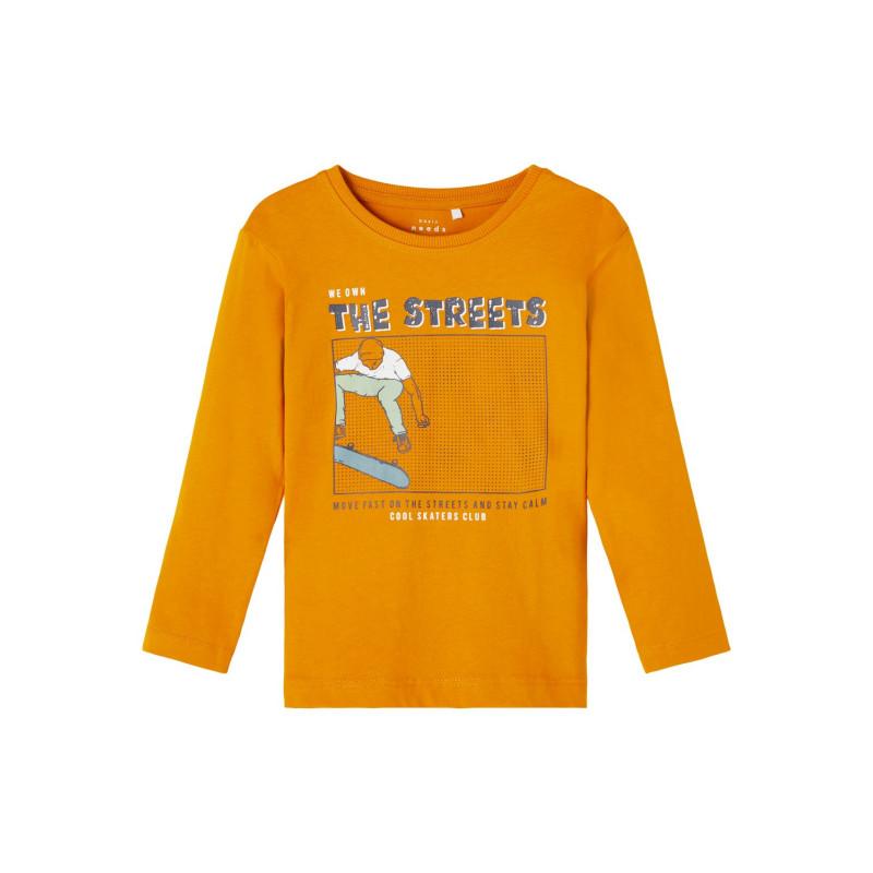 Bluză din bumbac organic cu imprimeu skateboarder, portocalie  262176