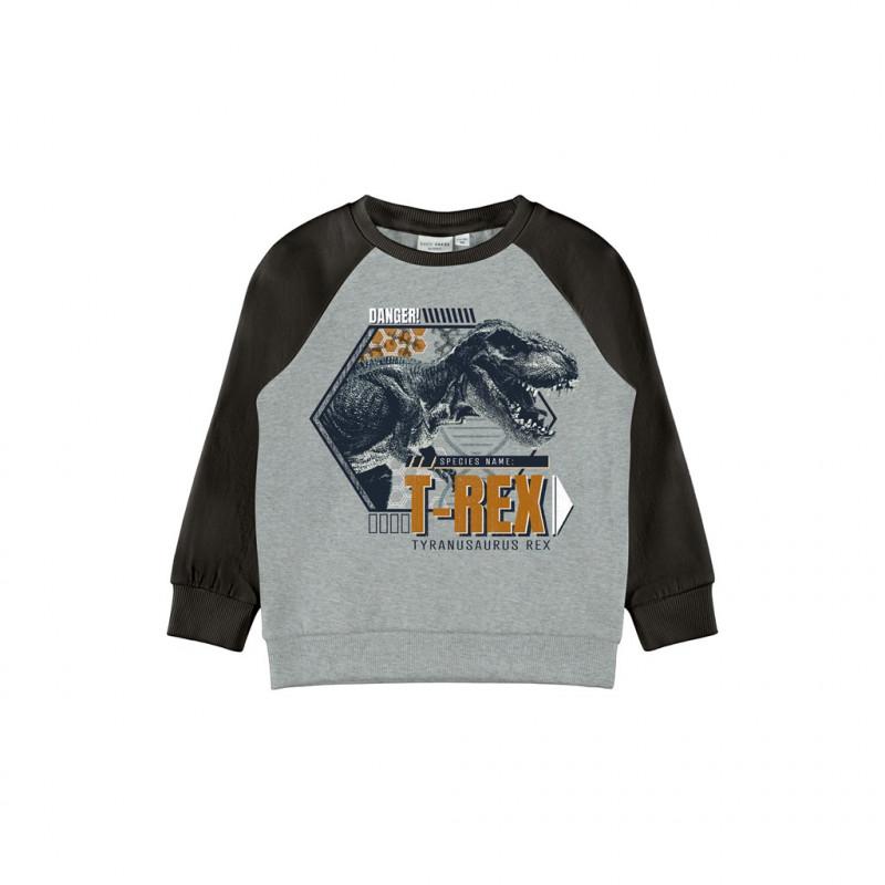 Hanorac din bumbac organic cu imprimeu T-rex, gri  262186