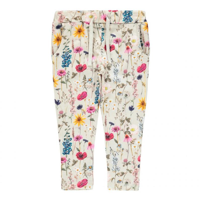 Pantaloni din bumbac organic cu imprimeu floral, bej  262193