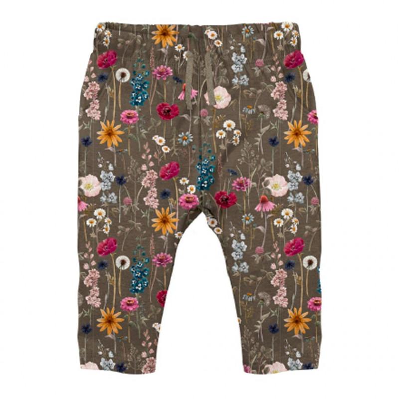 Pantaloni din bumbac organic cu imprimeu floral, verzi  262194