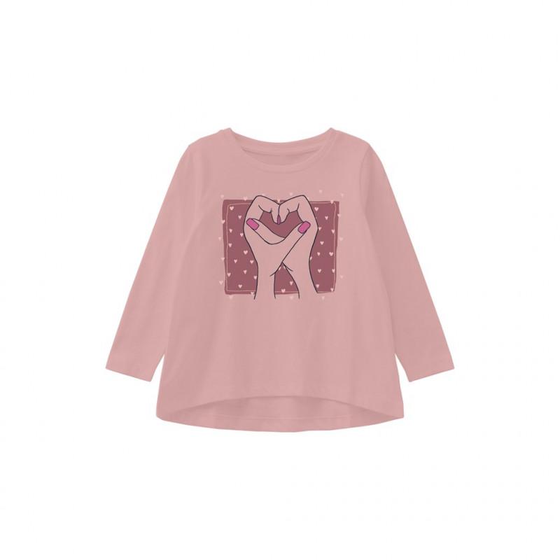 Bluză din bumbac organic cu imprimeu inimă, roz  262252