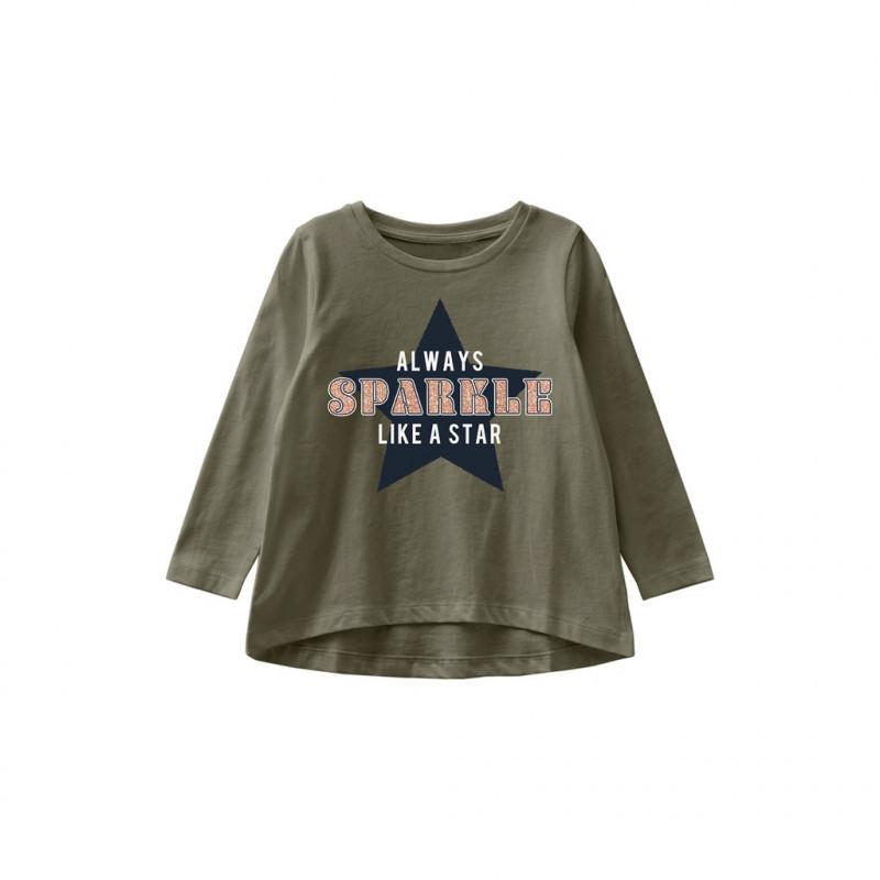Bluză din bumbac organic cu imprimeu stea, verde  262255