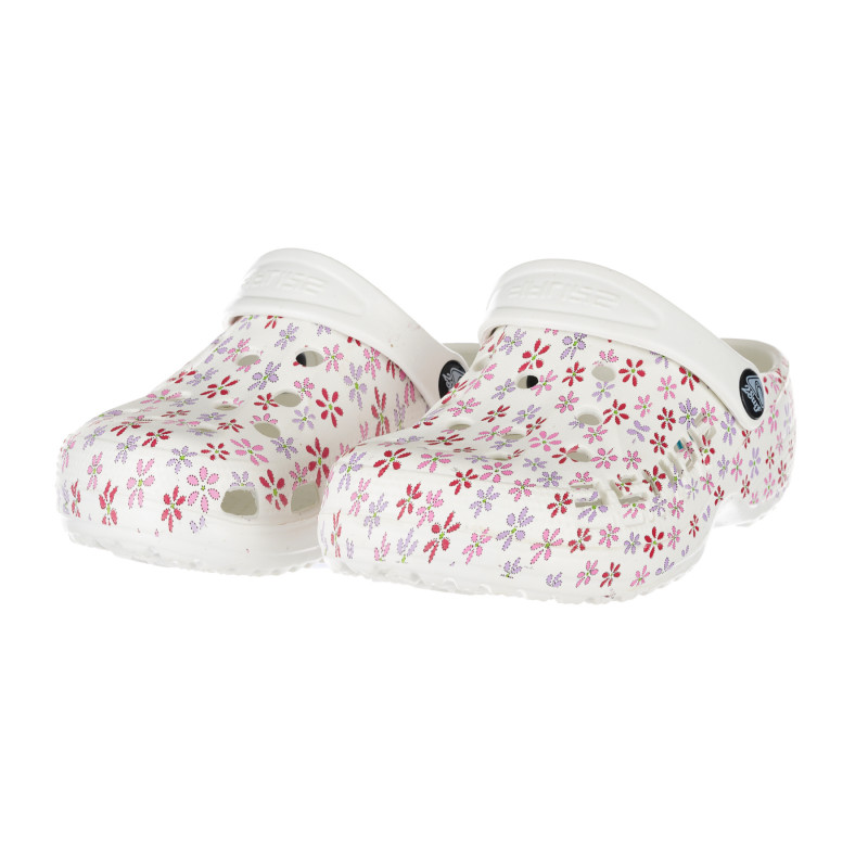 Saboți de cauciuc cu imprimeu de flori roz pentru bebeluși, de culoare albă  267661