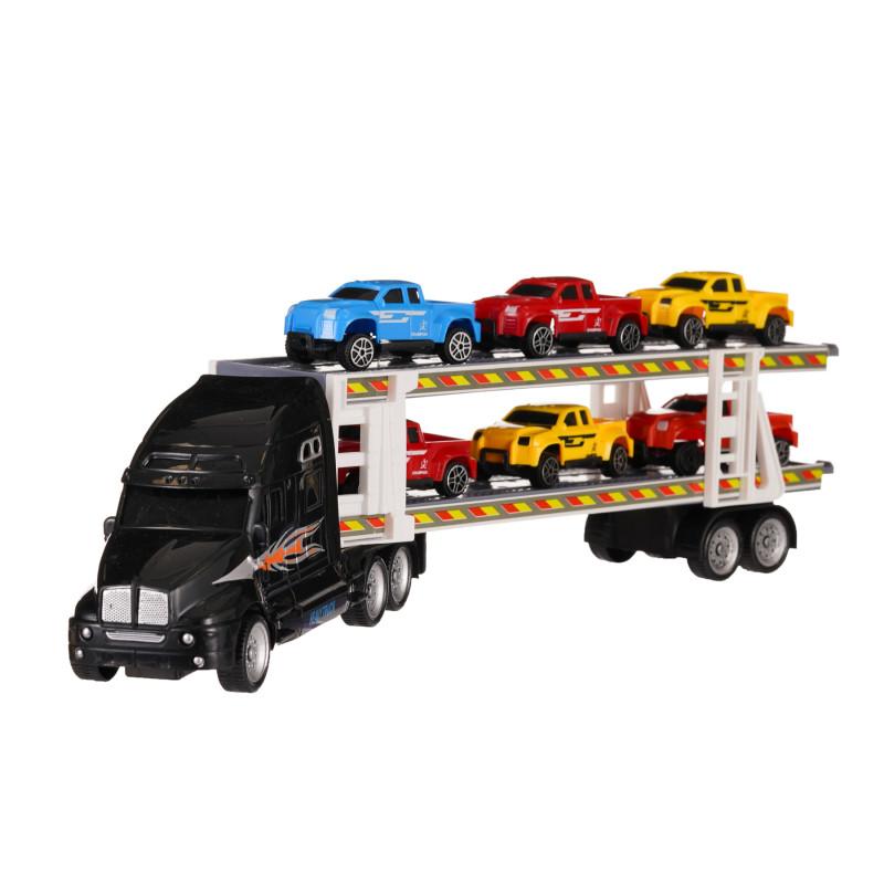 Autotransportator negru de 39 cm cu 6 mașini incluse  275805