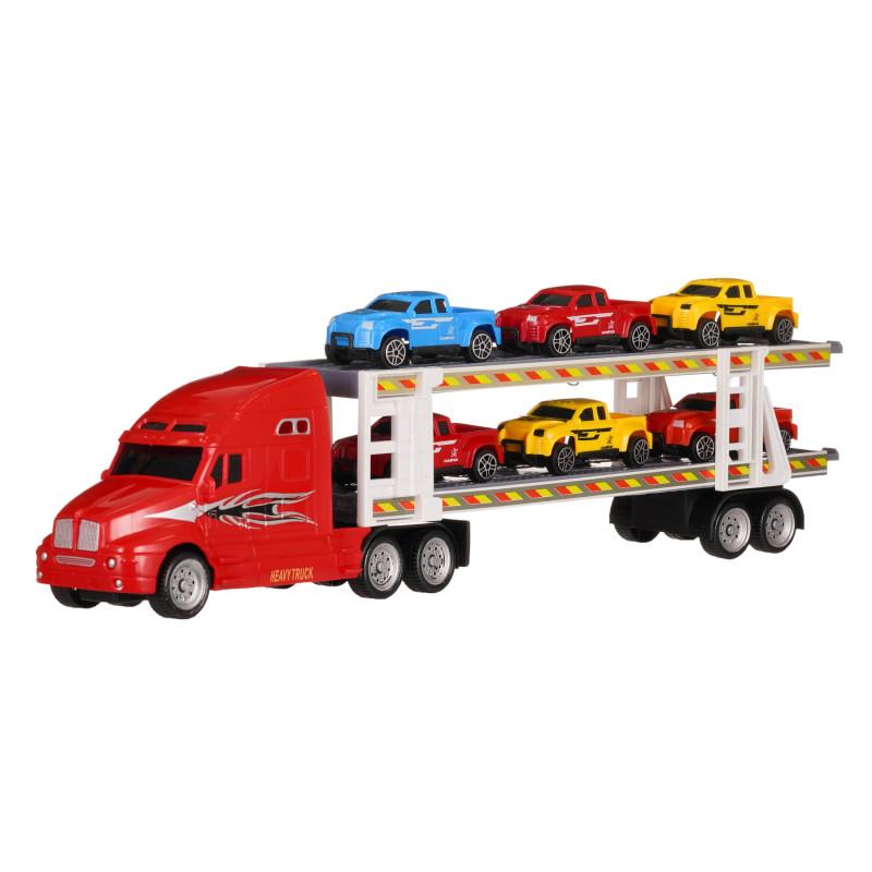 Autotransportator roșu de 39 cm cu 6 mașini  275813