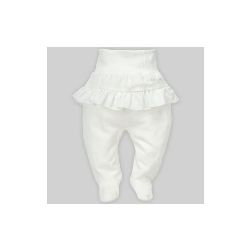 Pantaloni de bumbac cu o bandă elastică largă și bucle pentru fete  28248