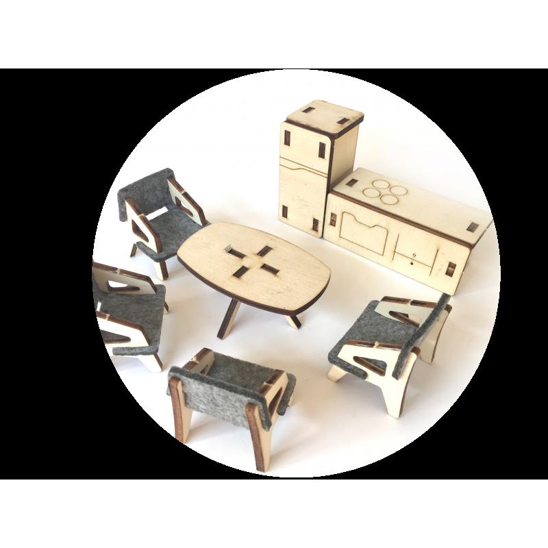 Set de mobilier pentru casa de păpuși din 7 piese  2862