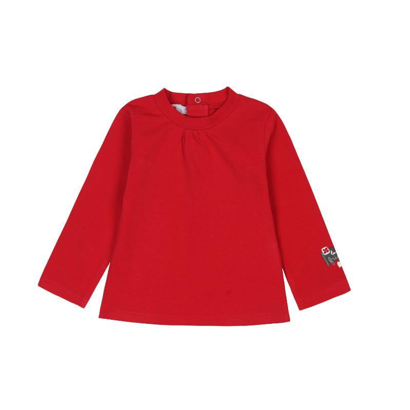 Bluză din bumbac cu mânecă lungă roșie pentru fete  288