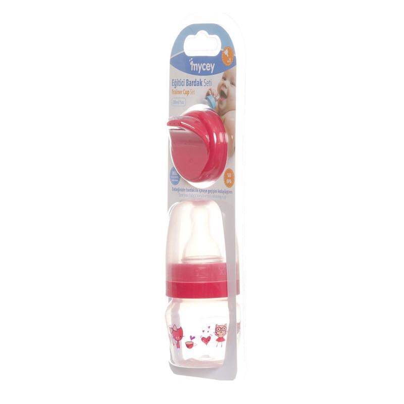 Biberon din polipropilenă, pentru nou-născuți, cu tetină, 0+ luni, 30 ml, culoare: roz  291637