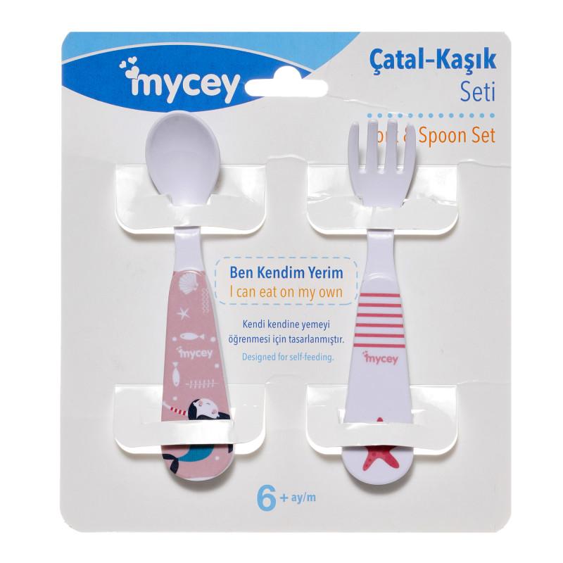 Set lingură și furculiță, culoare roz  291646