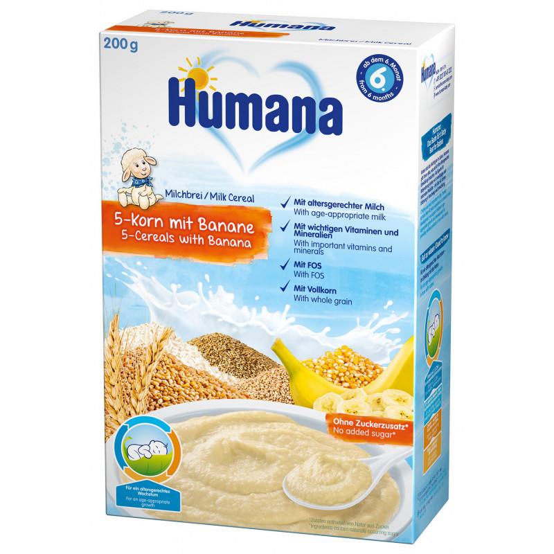 Terci de lapte cu 5 tipuri de boabe și banane, 6+ luni, cutie 200 g.  2957