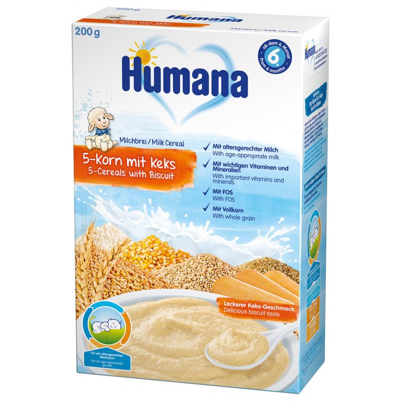 Terci de lapte cu 5 tipuri de boabe și biscuiți, 6+ luni, cutie 200 g.  2958